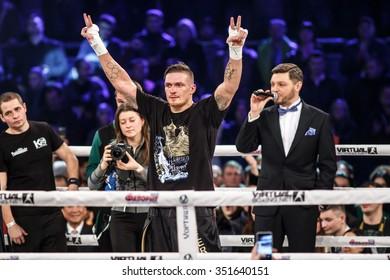 KYIV, UKRAINE - DECEMBER 12, 2015: Box Fight for WBO Inter-Continental cruiserweight champion title between Oleksandr Usyk (Ukraine) and Pedro Rodriguez (USA)