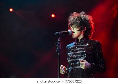 KYIV, UKRAINE - DECEMBER 12, 2017: American singer LP (Laura Pergolizzi) during a concert in Kyiv