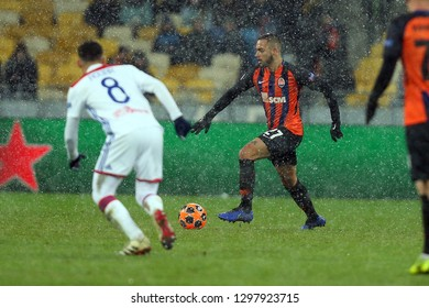 KYIV, UKRAINE - DECEMBER 12, 2018: Maycon de Andrade Barberan runs and dribbles with the ball. UEFA Champions League Shakhtar-Lyon
