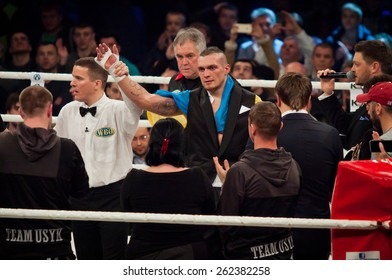 KYIV, UKRAINE - DECEMBER 13, 2014: Oleksandr Usyk of Ukraine reacts after winning the WBO Intercontinental cruiserweight Title in the fight with Danie Venter