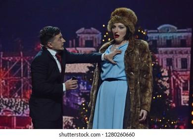 "KYIV, UKRAINE - DECEMBER 14, 2018: Volodymyr Zelensky during the concert program of the studio ""Kvartal 95"""