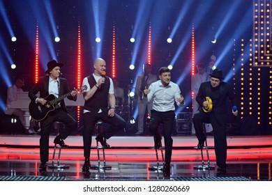 "KYIV, UKRAINE - DECEMBER 14, 2018: Artists during the concert program of the studio ""Kvartal 95"""