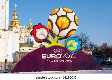 KYIV, UKRAINE - DECEMBER 15: Official logotype UEFA EURO 2012, St.Michael's Orthodox Cathedral , Kyiv, Ukraine, December 15, 2009.