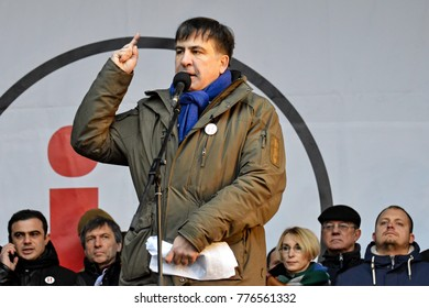 KYIV, UKRAINE - DECEMBER 17, 2017: Former Georgian president and former governor of the Odessa region Mikheil Saakashvili speaks on stage, after an attempted arrest by the National Guard in Kiev