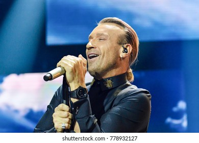"KYIV, UKRAINE - DECEMBER 19, 2017: Ukrainian singer Oleg Vinnik on stage during concert ""Music platform of Ukraine"" in Kiev"