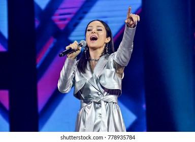 "KYIV, UKRAINE - DECEMBER 19, 2017: Ukrainian singer, participant of Eurovision 2013 from Ukraine Zlata Ognevich during concert ""Music platform of Ukraine"" in Kiev"