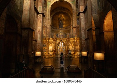 Kyiv, Ukraine. December 26th, 2020: The view of iconostasis of the St. Sophia Cathedral 11th century.