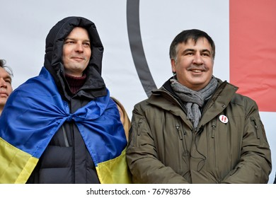KYIV, UKRAINE - DECEMBER 3, 2017: Former Georgian president and former governor of the Odessa region Mikheil Saakashvili (R) and Yehor Soboliev (L) at the Impeachment March in Kiev
