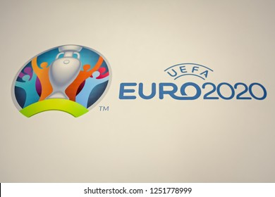 KYIV, UKRAINE - DECEMBER 3, 2018: Official logo UEFA EURO 2020 printed on banner during press conference on the occasion of the draw