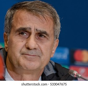 KYIV, UKRAINE - December 5, 2016: Besiktas head coach Senol Gunes attends press-conference before UEFA Champions League game against FC Dynamo Kyiv at NSC Olimpiyskyi stadium