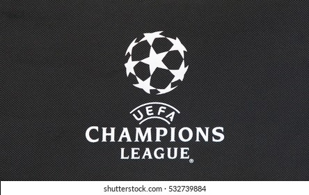 KYIV, UKRAINE - DECEMBER 6, 2016: Close-up UEFA Champions League logo on the black medicine bag during UEFA Champions League game FC Dynamo Kyiv vs Besiktas at NSC Olimpiyskyi stadium in Kyiv, Ukraine