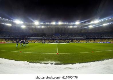 KYIV, UKRAINE - DECEMBER 6, 2016: Training session at NSC Olimpiyskyi stadium before UEFA Champions League game FC Dynamo Kyiv v Besiktas