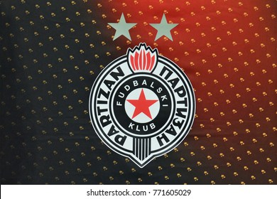 KYIV, UKRAINE - DECEMBER 7, 2017: Official logo FK Partizan during the UEFA Europa League football match between FC Dynamo Kyiv and FK Partizan at the Olympic Stadium Kiev