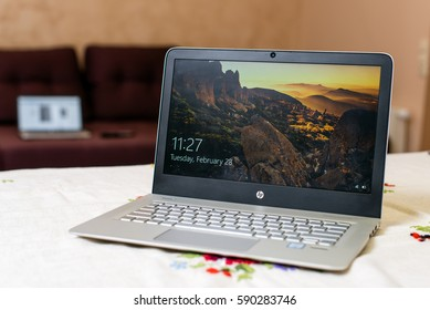 Kyiv, Ukraine - Fabruary 28th, 2017: HP Envy 13-d023cl laptop PC (ENERGY STAR).