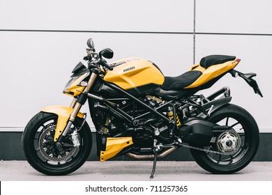 Kyiv, Ukraine - Fabruary 28th, 2017: Yellow Ducati Streetfighter motorcycle