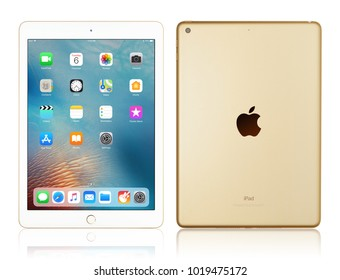 Kyiv, Ukraine - Fabruary 6, 2018: Brand new white Apple iPad Gold isolated on white with clipping path, 7th generation of the iPad, developed by Apple inc. and was announced on March 21, 2017