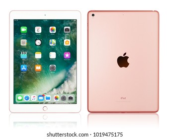 Kyiv, Ukraine - Fabruary 6, 2018: Brand new Apple iPad Pro Rose Gold isolated on white with clipping path, 7th generation of the iPad, developed by Apple inc. and was announced on March 21, 2016