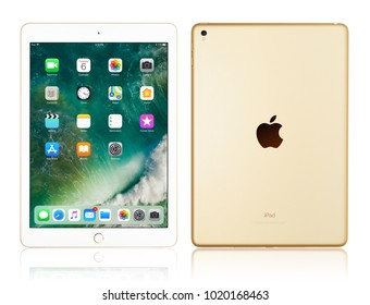 Kyiv, Ukraine - Fabruary 6, 2018: Brand new white Apple iPad Pro Gold isolated on white with clipping path, 7th generation of the iPad, developed by Apple inc. and was announced on March 21, 2017