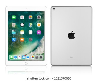 Kyiv, Ukraine - Fabruary 6, 2018: Brand new Apple iPad Pro Silver isolated on white with clipping path, 7th generation of the iPad, developed by Apple inc. and was announced on March 21, 2016