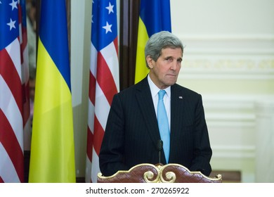KYIV, UKRAINE - FEB 05, 2015: United States Secretary of State John Kerry during an official press-briefing in the Administration of the President of Ukraine. Ukraine. February 05, 2015.