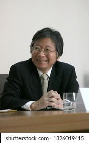 KYIV, UKRAINE - FEB 26, 2007: Mutsuo Mabuchi - Ambassador of Japan to Ukraine at that moment, at during visit to the Ministry of Economy in the building of the Government of Ukraine. Writer, publicist
