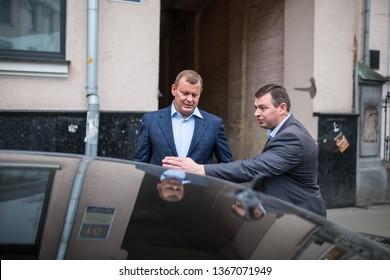 KYIV, UKRAINE - Feb 26, 2014: Serhiy Klyuyev - is a ukrainian businessman, owner in Ukrpidshipnik Group and Slav AG Company, during at blitz-interview near building ukrainian Parliament.
