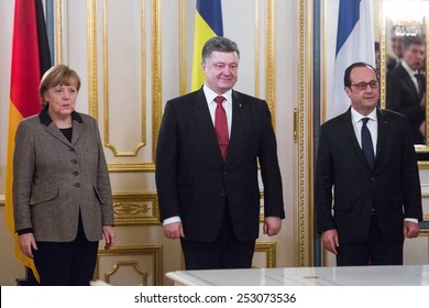 KYIV, UKRAINE - Feb 5, 2015: French President Francois Hollande and Chancellor of the Federal Republic of Germany Angela Merkel during an official meeting with President of Ukraine Petro Poroshenko