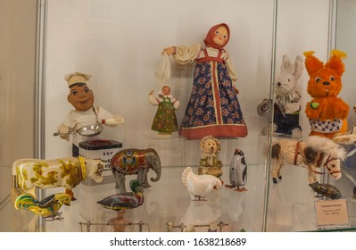 Kyiv, Ukraine - Feb 5, 2020: Mechanical, wind-up toys and inert from Germany and  USSR 40-80 years of 20th century in  in Toy Museum, Kyiv, Ukraine. Mass production