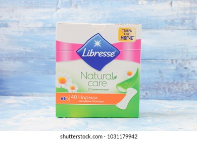 KYIV, UKRAINE - FEBRUARY 02, 2018: Libresse pad. Libresse is an international brand of feminine hygiene products owned by SCA, a Swedish pulp and paper manufacturer and consumer goods company.