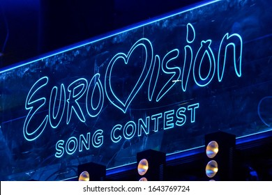 KYIV, UKRAINE - FEBRUARY 08, 2020: Scene with Logo Eurovision during national selection during the Eurovision-2018 from Ukraine