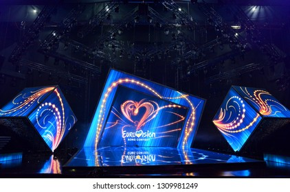 KYIV, UKRAINE - FEBRUARY 09, 2019: Scene with Logo Eurovision during national selection during the Eurovision-2019 from Ukraine