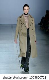 KYIV, UKRAINE - FEBRUARY 1, 2019: Model presents a creation by designer Elena Burenina during Ukrainian Fashion Week season at Mystetskyi Arsenal in Kyiv, Ukraine