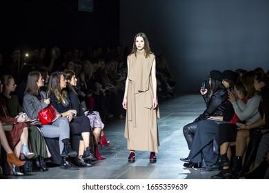 KYIV, UKRAINE - FEBRUARY 1, 2020: Julia Kros collection show during Ukrainian Fashion Week FW20-21 at Mystetsky Arsenal in Kyiv