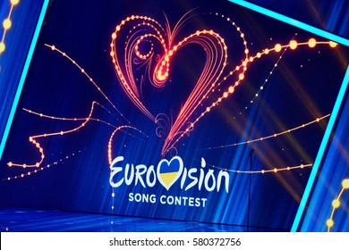 KYIV, UKRAINE - FEBRUARY 11, 2017: Logo Eurovision 2017 national selection during the Eurovision-2017