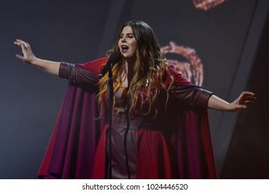 KYIV, UKRAINE - FEBRUARY 11, 2018: Singer KAZKA member of the second semi-final of the national selection for Eurovision-2018