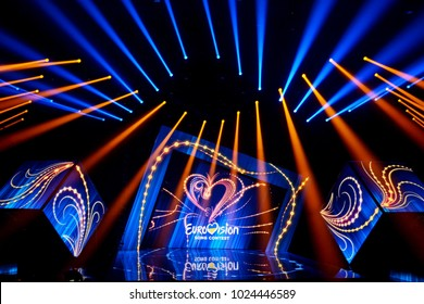 KYIV, UKRAINE - FEBRUARY 11, 2018: Scene with Logo Eurovision during national selection during the Eurovision-2018 from Ukraine
