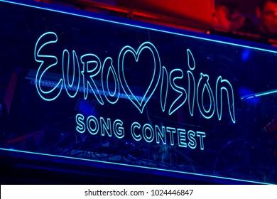 KYIV, UKRAINE - FEBRUARY 11, 2018: Logo Eurovision during national selection during the Eurovision-2018 from Ukraine