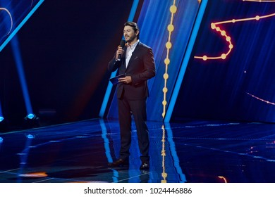 KYIV, UKRAINE - FEBRUARY 11, 2018: Serhiy Prytula - leading durring  the national selection Eurovision-2018 from Ukraine