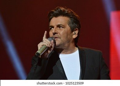 KYIV, UKRAINE - FEBRUARY 13, 2018: German singer Thomas Anders performs during a concert in Kyiv. He was lead singer of pop-duo Modern Talking.
