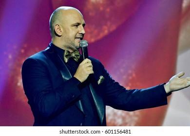 KYIV, UKRAINE - FEBRUARY 14, 2017: Singer Aleksey Potapenko (Potap) during the Ukrainian musical award YUNA