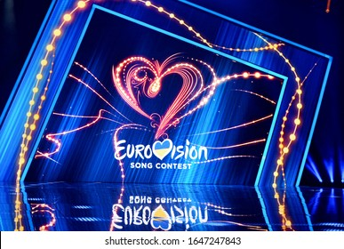 KYIV, UKRAINE - FEBRUARY 15, 2020: Scene with Logo Eurovision during national selection during the Eurovision-2020 from Ukraine