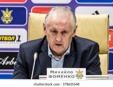 KYIV, UKRAINE - FEBRUARY 16, 2016: Head coach of National football team of Ukraine Mykhailo Fomenko during press-conference at House of Football in Kyiv