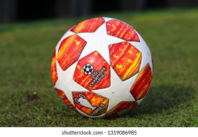 KYIV, UKRAINE - FEBRUARY 20, 2019: Official match ball of UEFA Champions League 2019 Madrid Final on the grass during UEFA Youth League game FC Dynamo Kyiv v Juventus at Lobanovskiy stadium in Kyiv