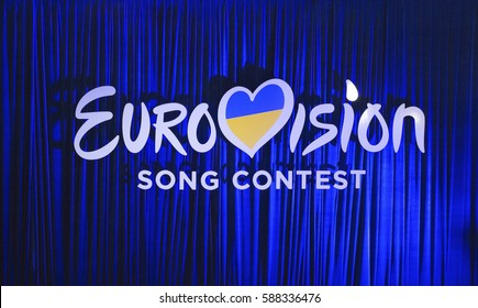 KYIV, UKRAINE - FEBRUARY 21, 2017: Logo Eurovision 2017 national selection during the Eurovision-2017