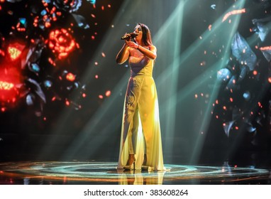 "KYIV, UKRAINE - FEBRUARY 21: The famous Ukrainian singer Jamala performs the song ""1944"" at national selection for Eurovision Song Contest on February 21, 2016 in Kyiv, Ukraine"