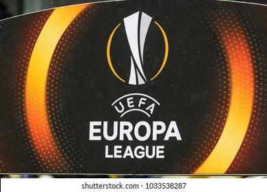 Kyiv, Ukraine - February 22, 2018: The sign and logo of the UEFA Europa League during the UEFA Europa League match between Dynamo Kyiv vs AEK at NSC Olympic stadium in Kyiv, Ukraine.