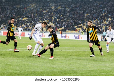 Kyiv, Ukraine - February 22, 2018: Players in action during the UEFA Europa League match between Dynamo Kyiv vs AEK at NSC Olympic stadium in Kyiv, Ukraine.