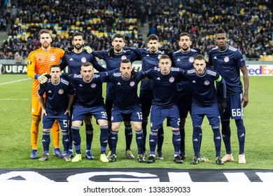 Kyiv, Ukraine - February 22, 2019: Olympiakos FC team photo before the start of UEFA Europa League match against Dynamo Kyiv at NSC Olympic stadium.