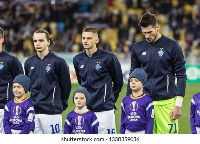 Kyiv, Ukraine - February 22, 2019: Dynamo Kyiv players before the start of UEFA Europa League match against Olympiakos FC at NSC Olympic stadium.
