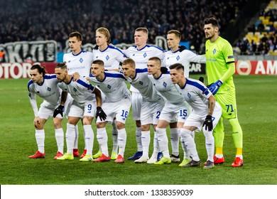 Kyiv, Ukraine - February 22, 2019: Dynamo Kyiv team photo before the start of UEFA Europa League match against Olympiakos FC at NSC Olympic stadium.